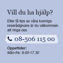 Vill du ha hjälp? Eller få tips av våra kunniga reserådgivare är du välkommen att ringa oss. 08-506 115 00